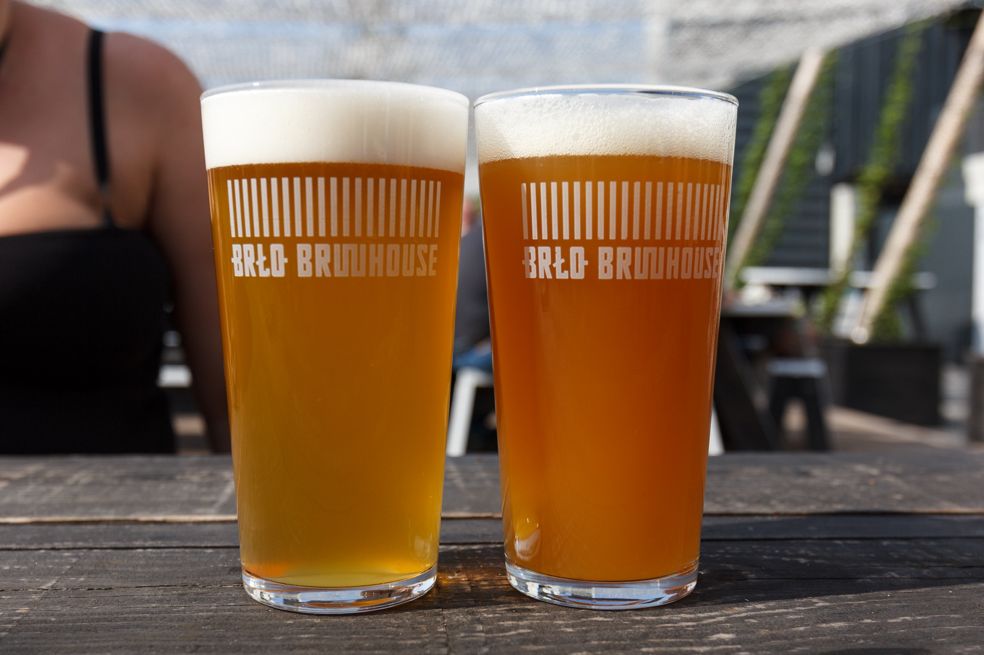 Helles and Pale Ale in the beer garden at BRLO Brwhouse - a craft beer brewery, bar, restaurant and beer garden and the edge of Park am Gleisdreieck in Berlin