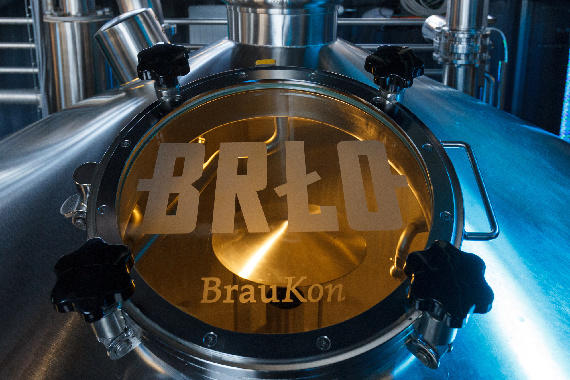 Brewing equipment in the brewery at BRLO Brwhouse - a craft beer brewery, bar, restaurant and beer garden and the edge of Park am Gleisdreieck in Berlin