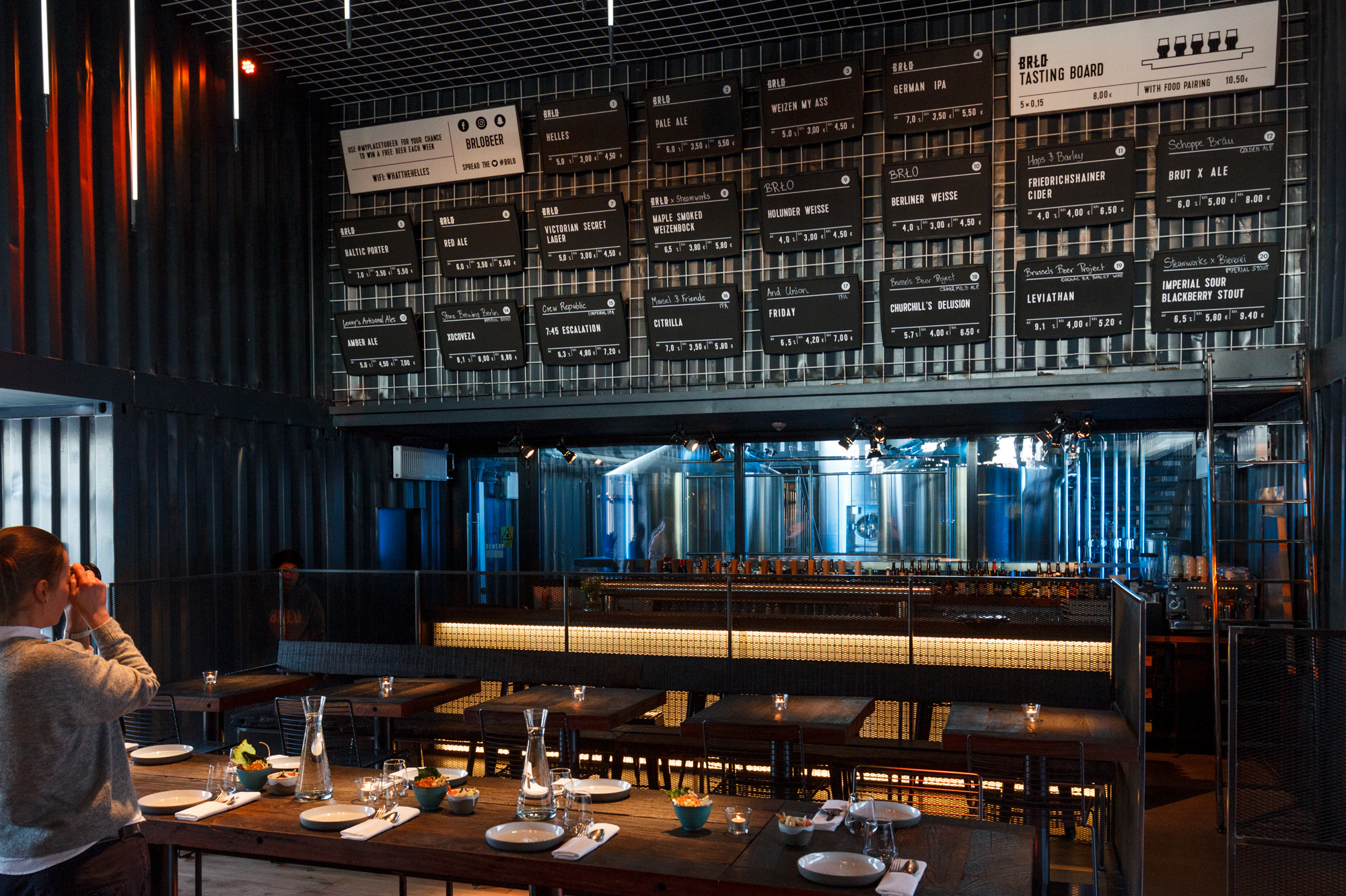 The bar and beer selection at BRLO Brwhouse - a craft beer brewery, bar, restaurant and beer garden and the edge of Park am Gleisdreieck in Berlin