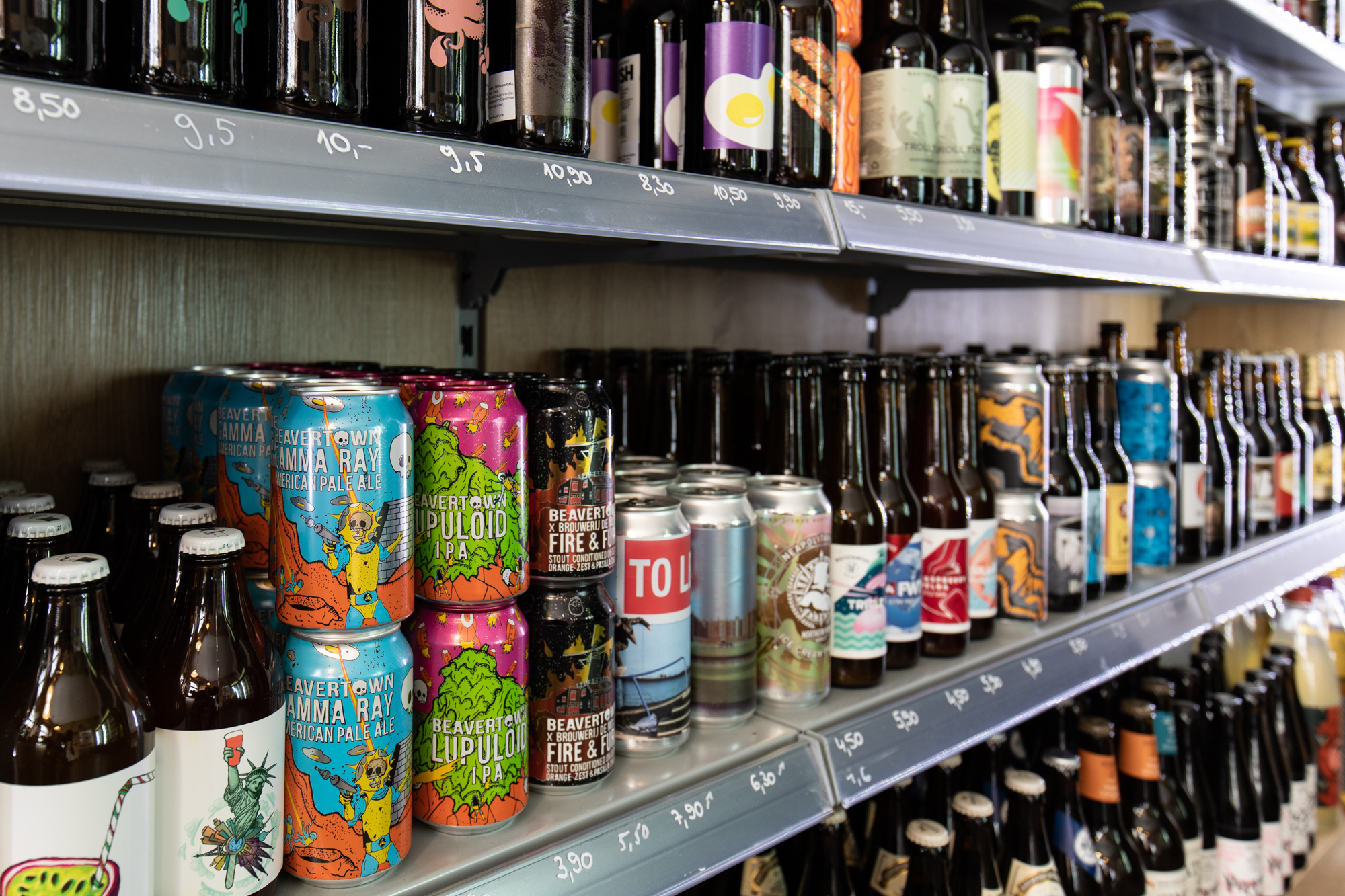 Beer on the shelves at Biererei Store Berlin - a craft beer bottle shop in Kreuzberg