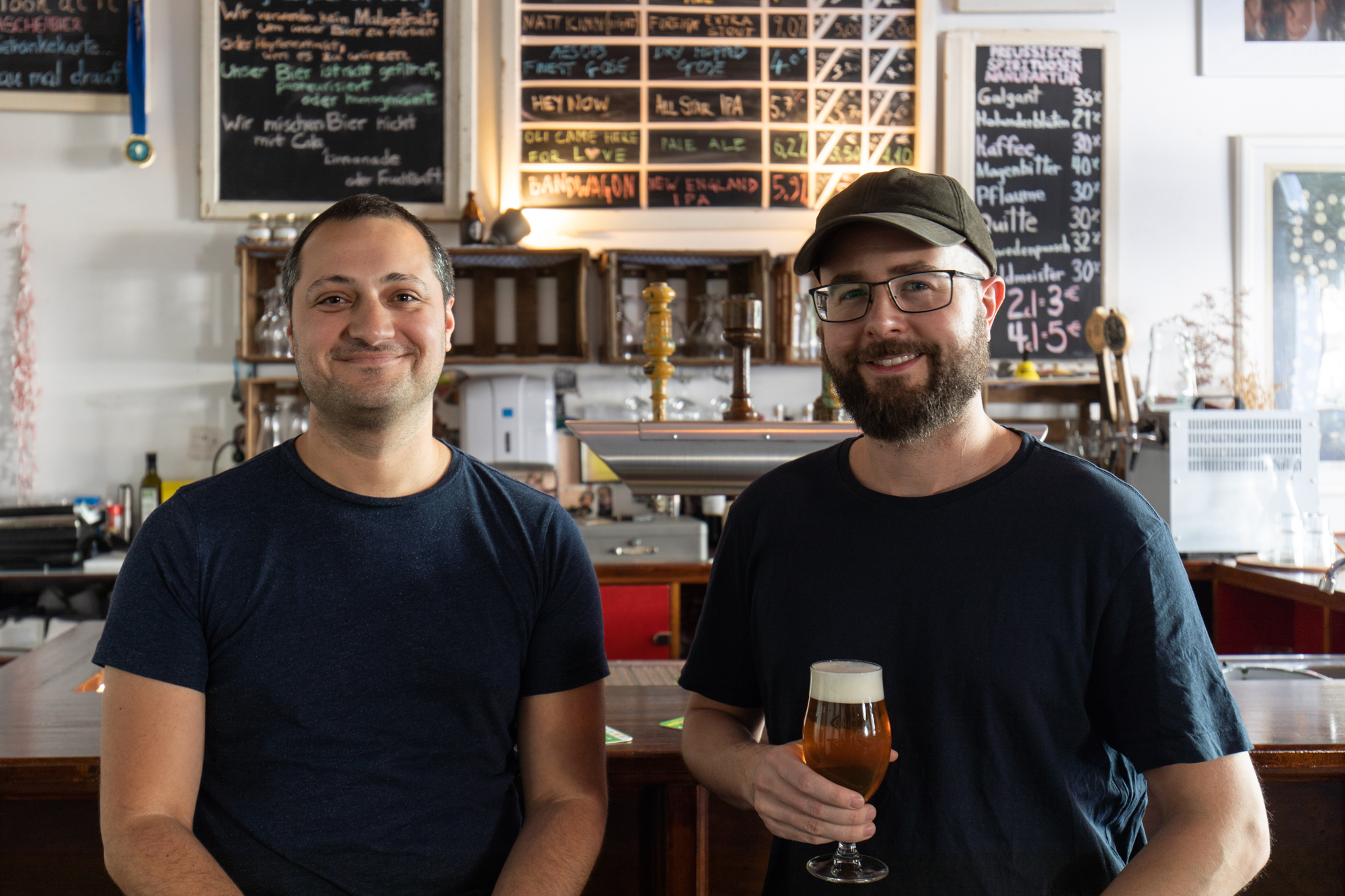 Matt Walthall and Tom Crozier at the Taproom in Vagabund Brauerei, a Nano Brewery in Berlin Wedding