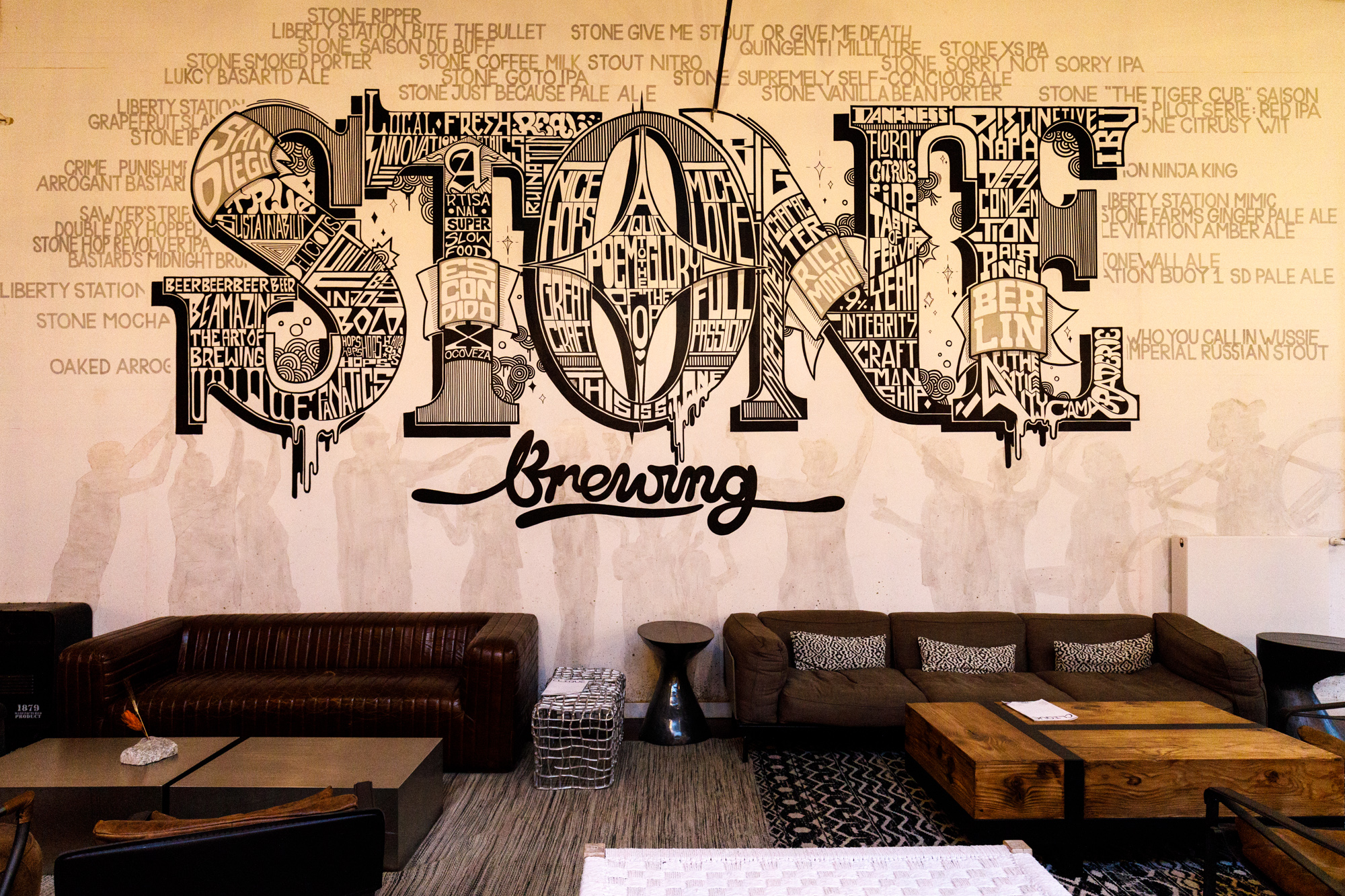 Feature wall at Stone Brewing Berlin, the European headquarters of the US craft brewer in the former Marienfedorf gasworks