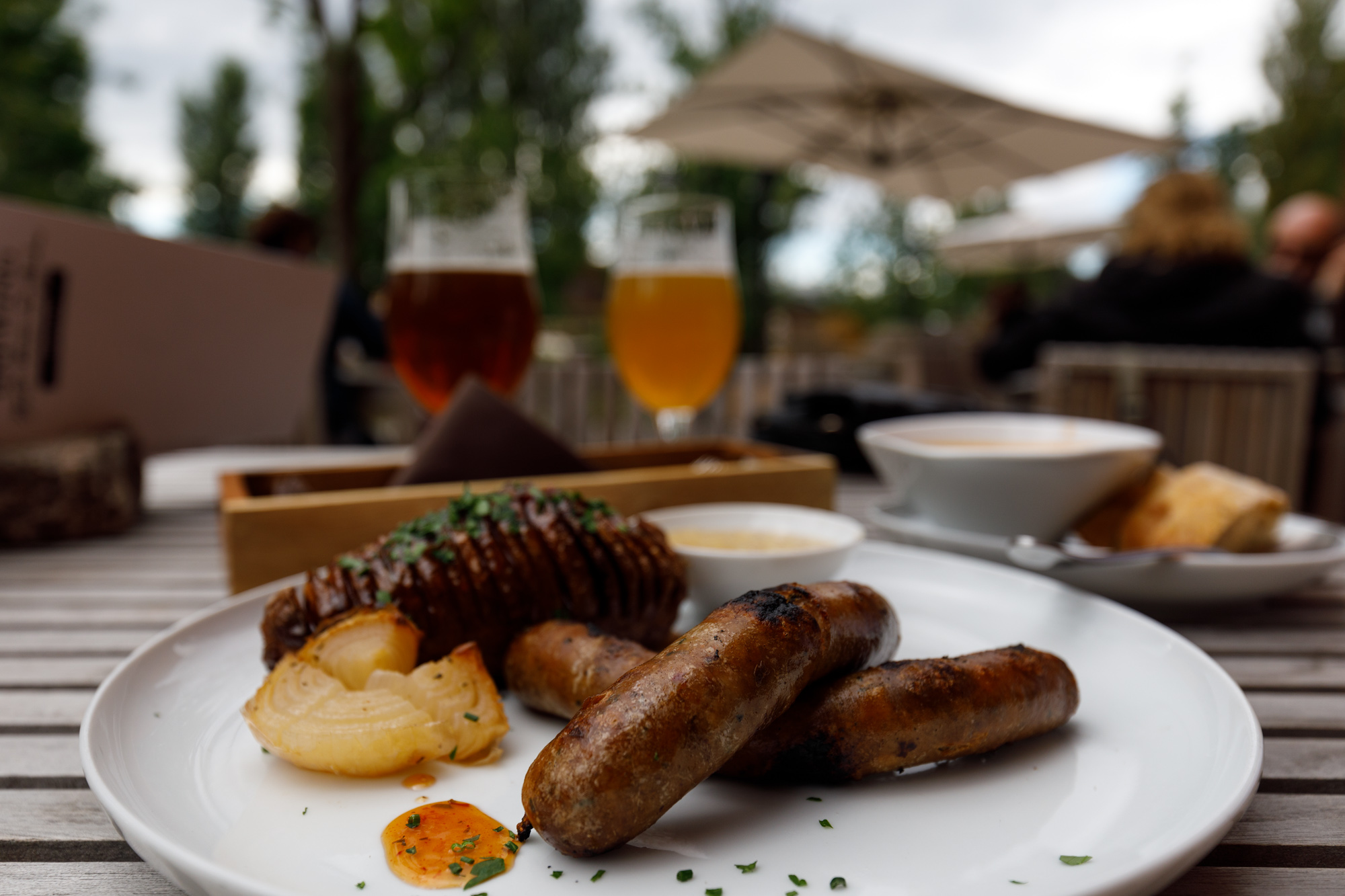 Bitter Seared Beef and Pork Sausage at Stone Brewing Berlin, the European headquarters of the US craft brewer in the former Marienfedorf gasworks
