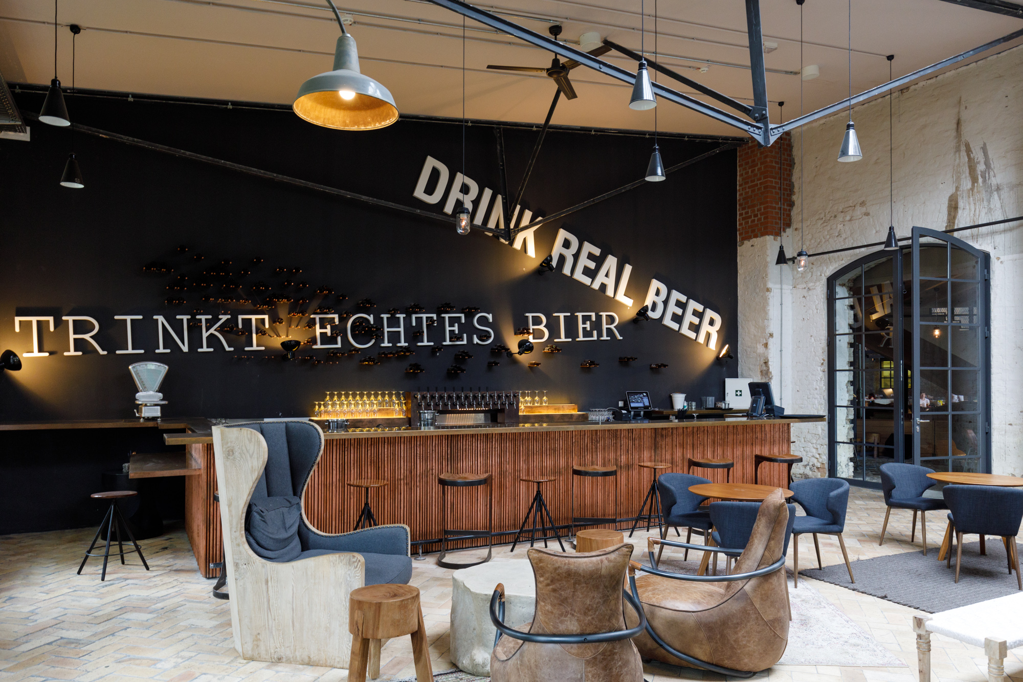 The Library Bar at Stone Brewing Berlin, the European headquarters of the US craft brewer in the former Marienfedorf gasworks