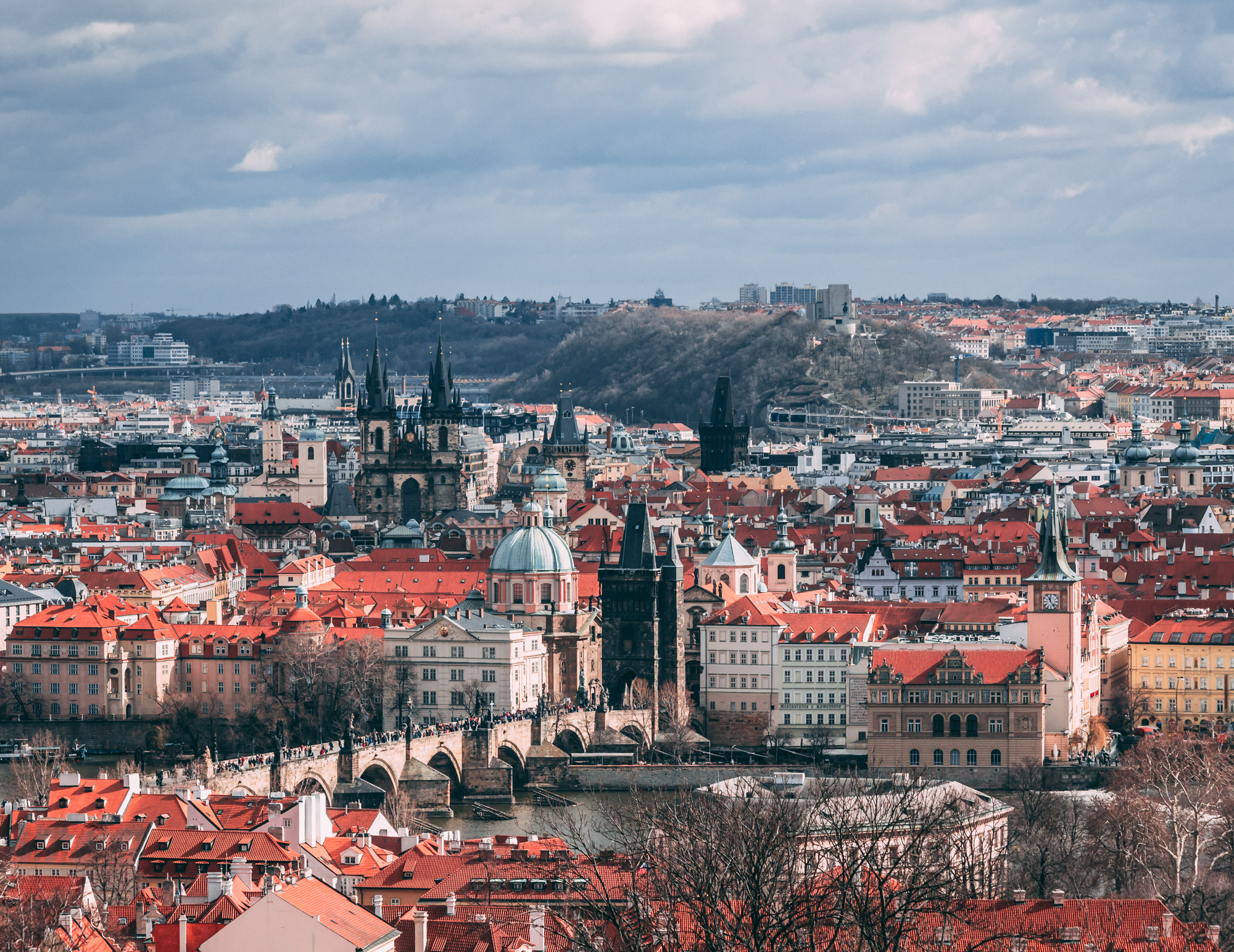 The Charles Bridge, the Old Town and beyond in Prague as seen from the Petřín Hill