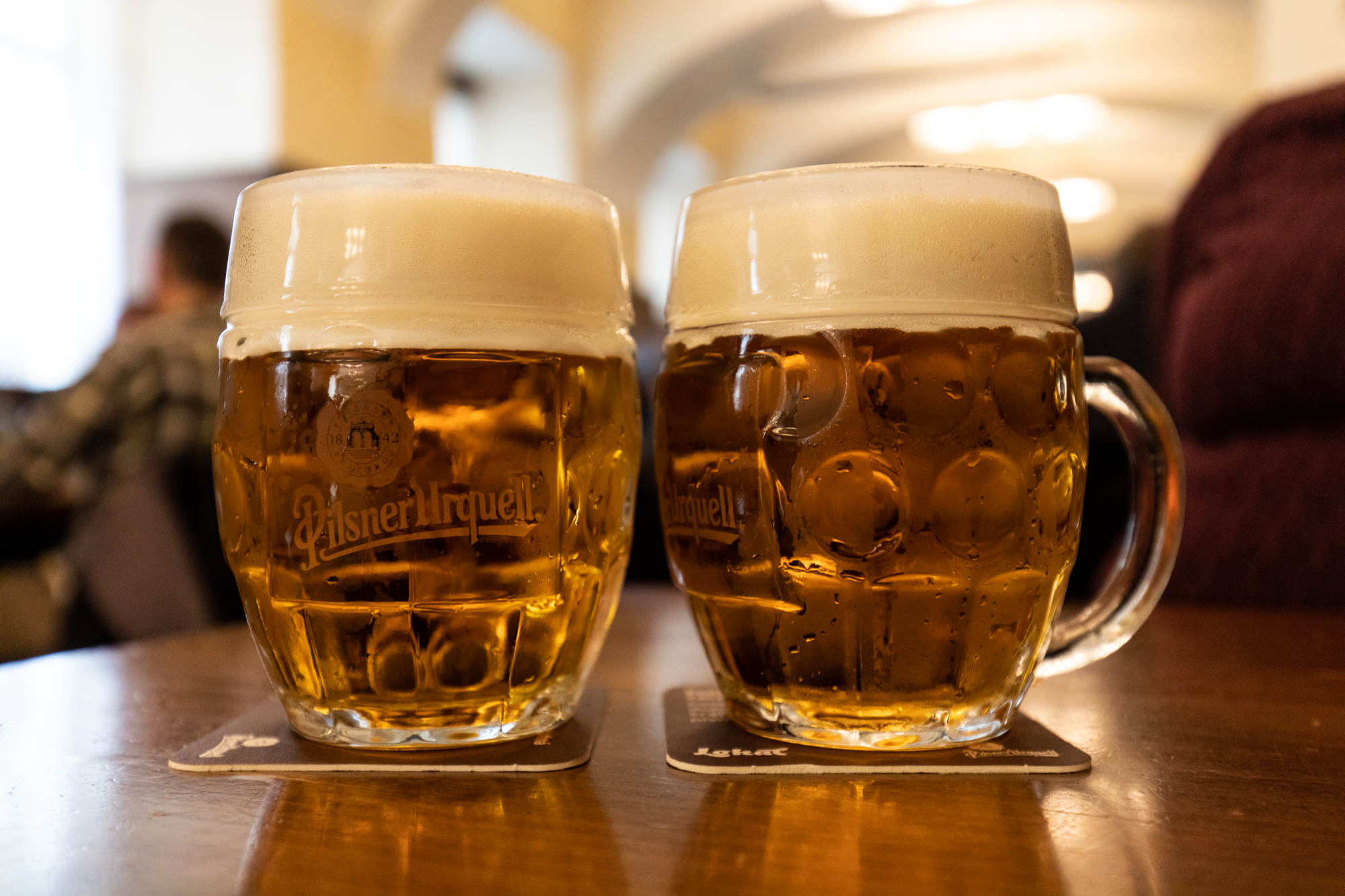 2 glasses of Pilsner Urquell Tankova beer at Lokál Dlouhá in Prague