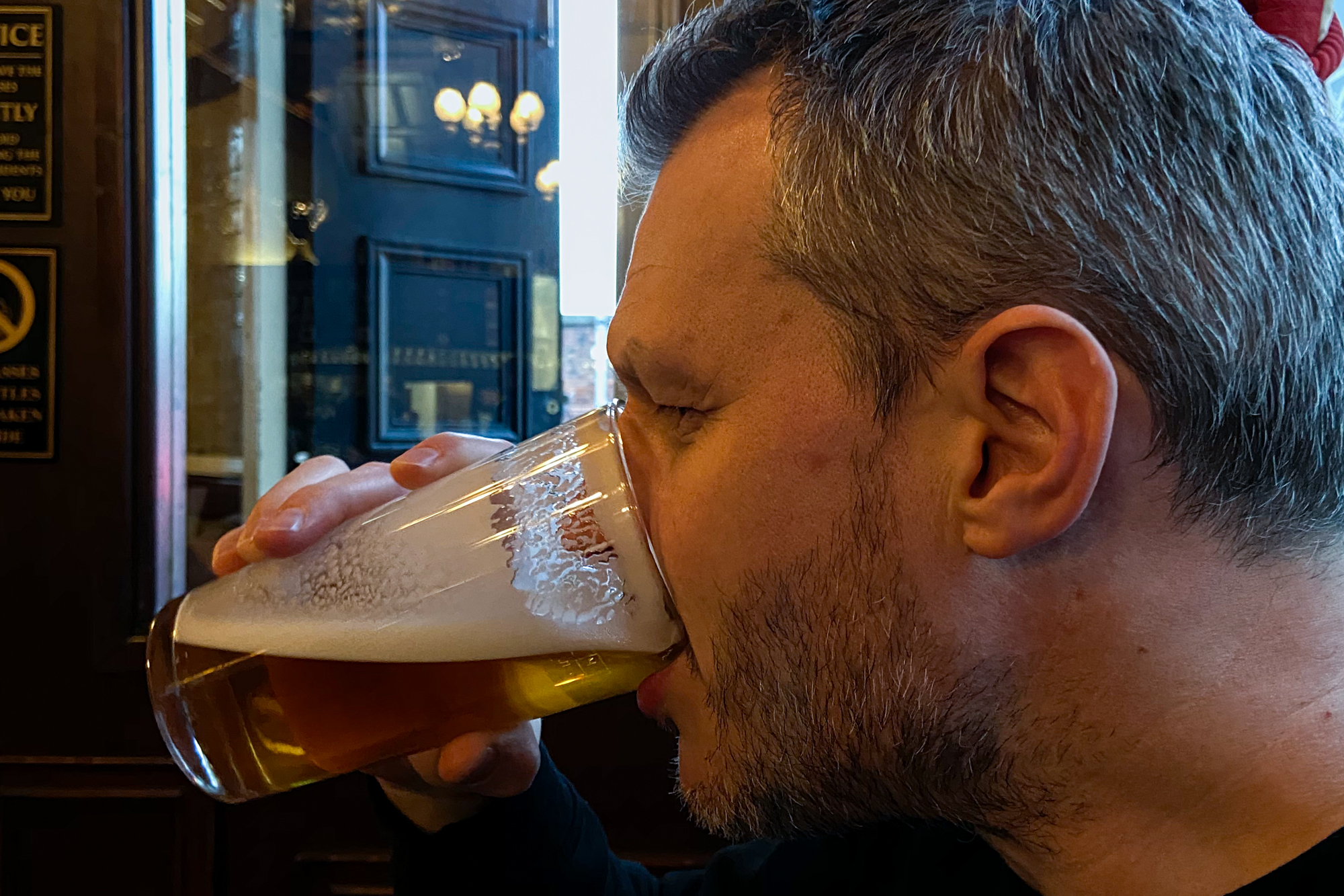 Drinking a pint of Bitter at the Marble Arch in Manchester